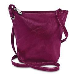 Women's David King Leather 3518 Florentine Top Zip Mini Bag Fuschia