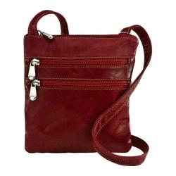 Women's David King Leather 3734 Florentine 3 Zip Cross Body Bag Red