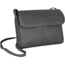 Women's David King Leather 521 Flap Front Handbag Black