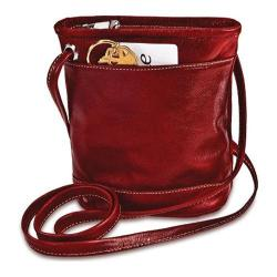 Women's David King Leather 3512 Florentine Top Zip Mini Bag Red