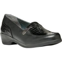 Women's Propet Briana Croco Loafer Black/Black Croco Full Grain Leather