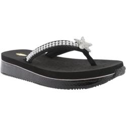 Women's Volatile Twinkle Thong Sandal Black Leather