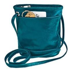Women's David King Leather 3512 Florentine Top Zip Mini Bag Blue