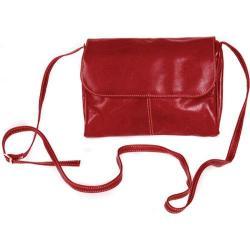Women's David King Leather 3522 Florentine Flap Front Handbag Red