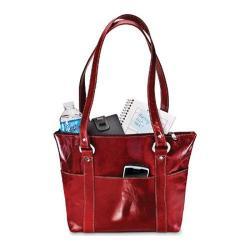 Women's David King Leather 3543 Florentine 6 Pocket Shopper Red