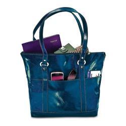 Women's David King Leather 3583 Florentine Large Multi Pocket Tote Blue
