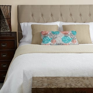 Humble + Haute Halifax Beige Linen Full Diamond Tufted Upholstered Headboard