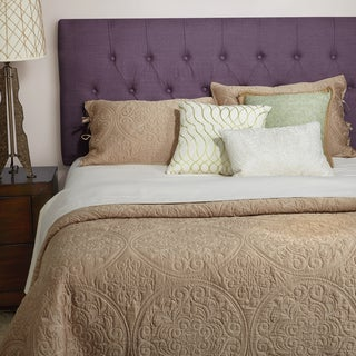 Humble + Haute Halifax Iris Purple Linen Full Diamond Tufted Upholstered Headboard