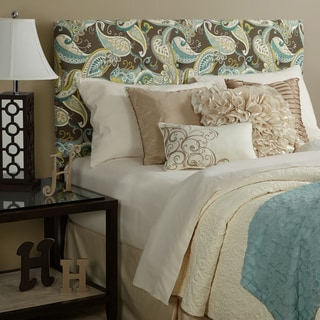 Humble + Haute Prescott Taupe Spa Blue Paisley Full Tufted Upholstered Headboard