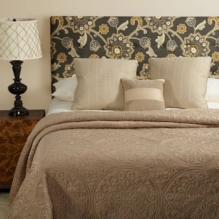 Humble + Haute Prescott Grey Floral Linen Full Tufted Upholstered Headboard