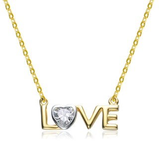 Collette Z Goldplated Sterling Silver Cubic Zirconia 'LOVE' Necklace