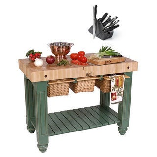 John Boos CU-GB4824-BS Basil Hard Maple Gathering Block 48 x 24 Table and Henckels 13-piece Knife Block Set