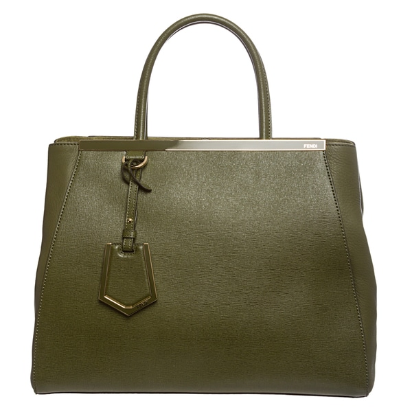 Fendi '2Jours' Medium Olive Saffiano/ Vitello Leather Shopper Bag