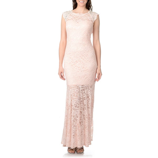 Morgan & Co. Juniors Peach Metallic Lace High-neck Keyhole Gown