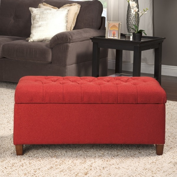 HomePop Cranberry Red Linen Tufted Storage Bench