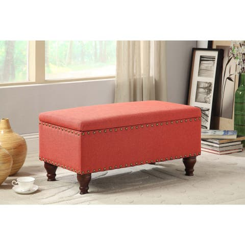 Copper Grove Westfield Red Linen Nailhead Trim Storage Bench