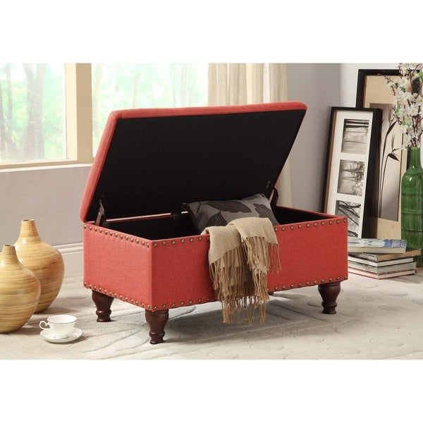 HomePop Red Linen Nailhead Trim Storage Bench   Free Shipping Today    Overstock.com   16120228