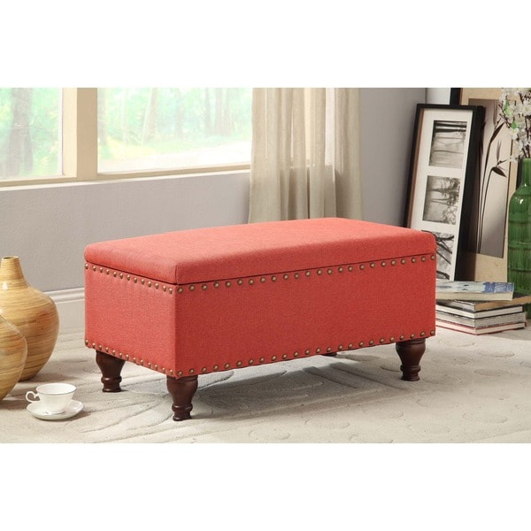 Image Result For Tufted Leather Ottoman With Nailhead Trim