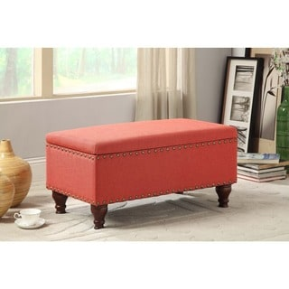 HomePop Red Linen Nailhead Trim Storage Bench