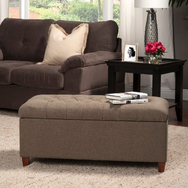 HomePop Brown Tufted Storage Bench