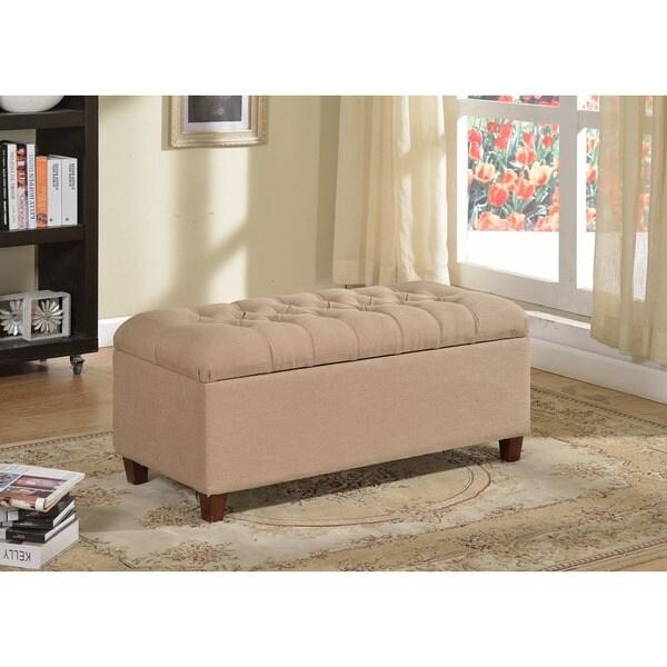 Kinfine Button-tufted Dark Vanilla Linen Home Storage Bench