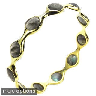 Modern Circles Faceted Stone Gold Over Brass Bracelet (Thailand)