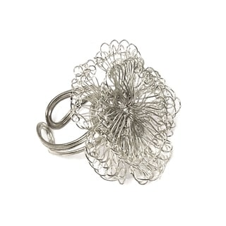 Handmade Dazzling Blossom Ring - Silver(India)