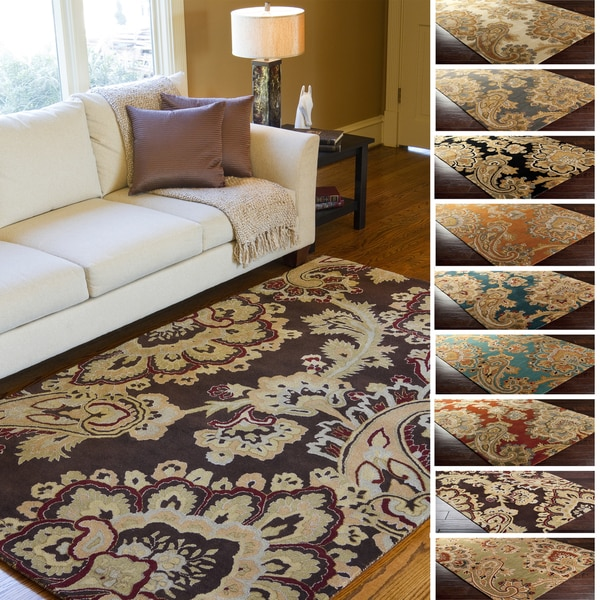Hand-Tufted Wool Transitional Paisley Area Rug - 5' x 8'