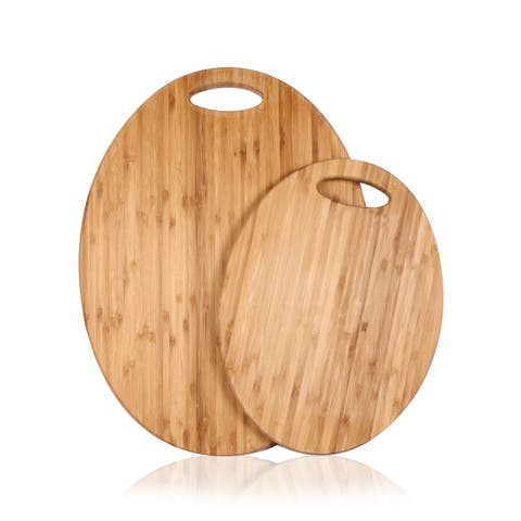 Adeco 2-piece 100-percent Natural Bamboo Oval Chopping Board Set