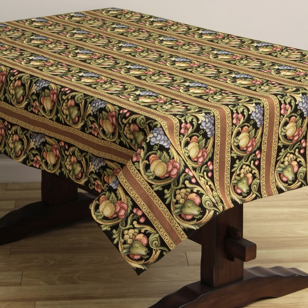 Corona Decor Fruit Design Black 50x90-inch Italian Heavy Weight Tablecloth