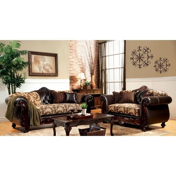 Furniture of America Marina 2-piece Fabric and Sofa and Loveseat Set