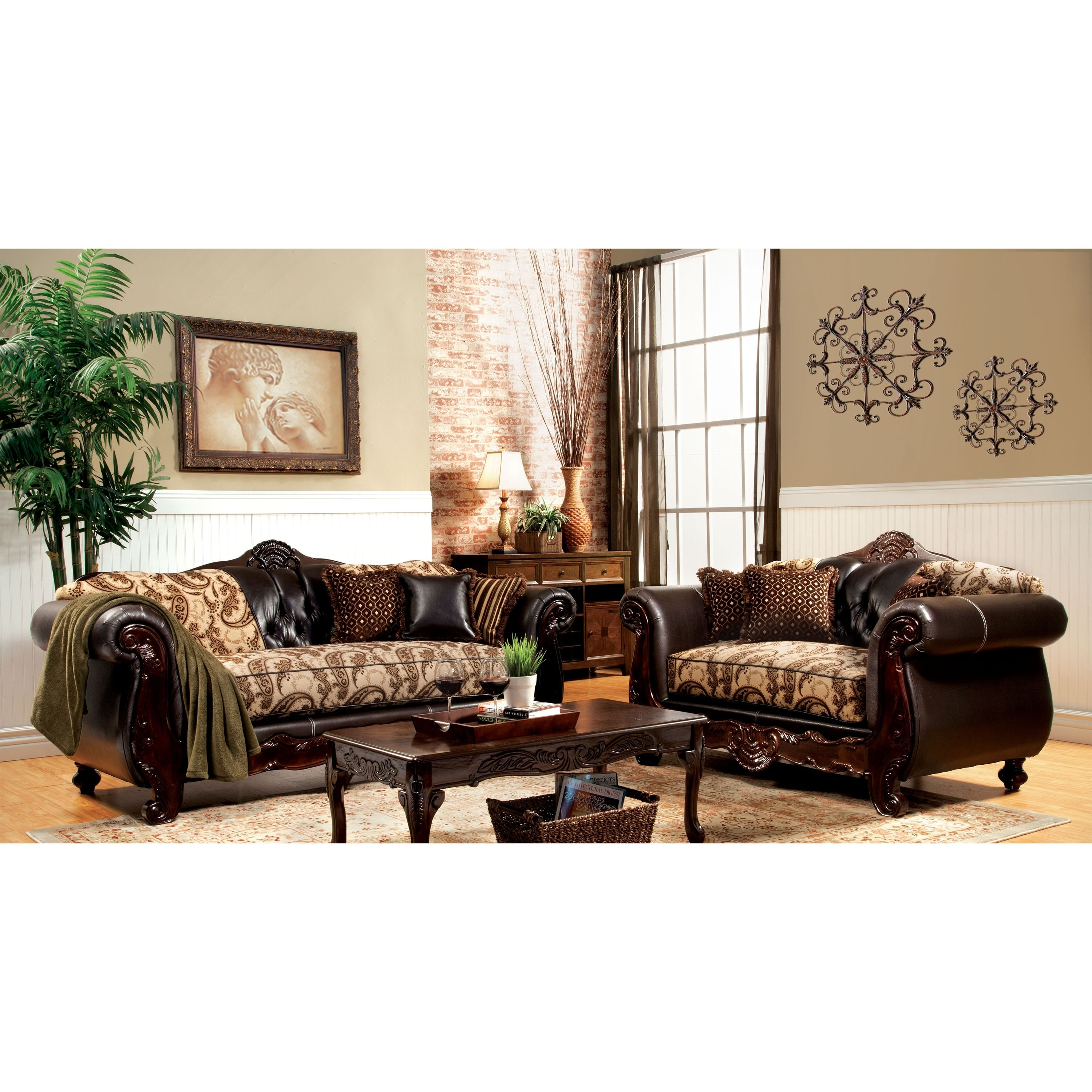 Furniture of America Marina 2-Piece Floral Fabric and Lea...