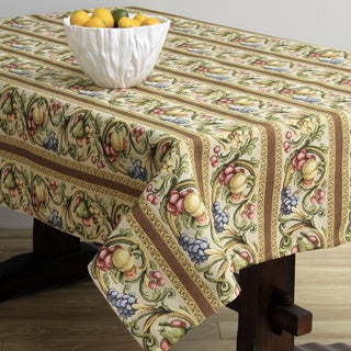 Corona Decor Fruit Design Cream 50x90-inch Italian Heavy Weight Tablecloth