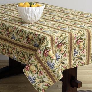 Corona Decor Fruit Design Cream 50x90 Inch Italian Heavy Weight Tablecloth