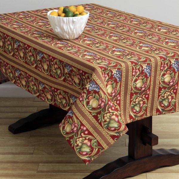 Corona Decor Fruit Design Red 50x90-inch Italian Heavy Weight Tablecloth