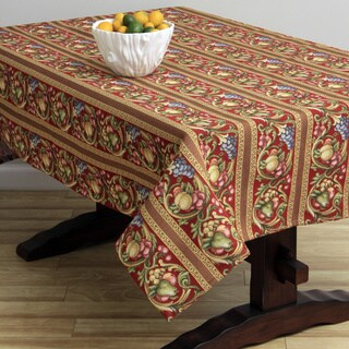 Corona Decor Fruit Design Red 50x90-inch Italian Heavy Weight Tablecloth