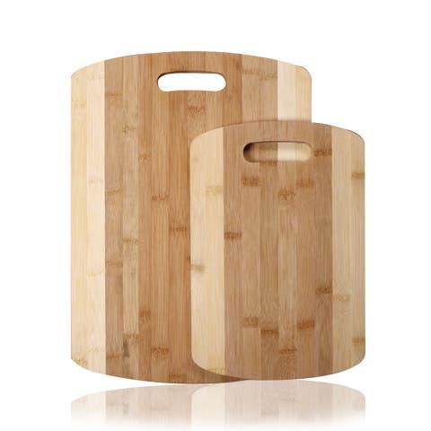 Adeco 2-piece 100-percent Natural Bamboo Chopping Board Set