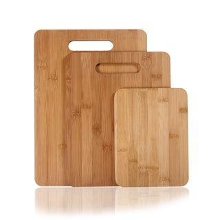 Adeco 3-piece 100-percent Natural Bamboo 3/8-inch Thick Cutting Board Set
