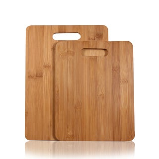 Adeco 2-piece 100-percent Natural Bamboo 3/8-inch Thick Chopping Board Set