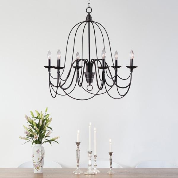 Design Craft Alma Blackened Oil Rubbed Bronze 6-light Chandelier ...