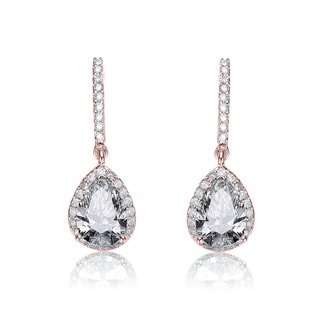 Collette Z Rose-plated Sterling Silver Cubic Zirconia Pear Drop Earrings