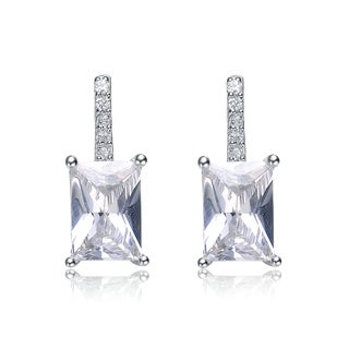 Collette Z Sterling Silver Asscher-cut Cubic Zirconia Drop Earrings