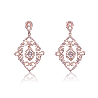 Rose-plated Sterling Silver Lace Design Diamond-shape Dangling Earrings