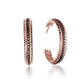 Collette Z Rose Goldplated Sterling Silver Black Cubic Zirconia Hoop Earrings