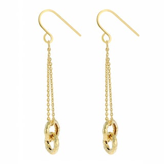 Fremada 14k Yellow Gold Diamond-cut Circles Dangle Earrings