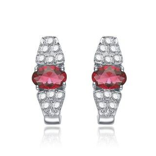 Collette Z Sterling Silver Red Cubic Zirconia Earrings