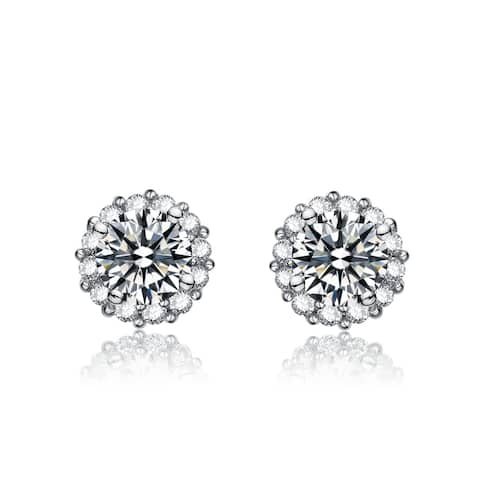 Collette Z Sterling Silver with Rhodium Plated Clear Round Cubic Zirconia Halo Stud Style Earrings