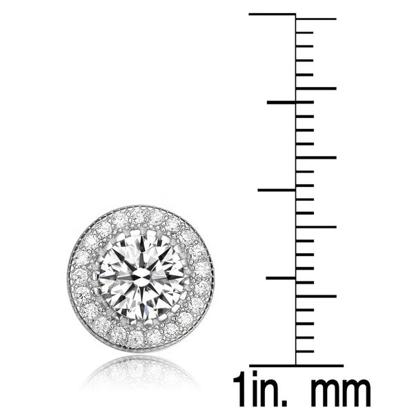 Collette Z Sterling Silver with Rhodium Plated Clear Round Cubic Zirconia Pronged Halo Earrings