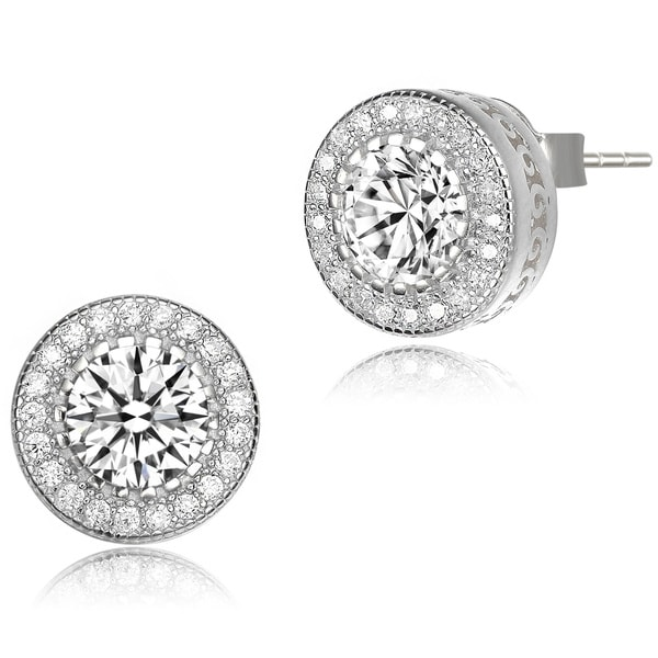 Collette Z Sterling Silver with Rhodium Plated Clear Round Cubic Zirconia Pronged Halo Earrings. Opens flyout.