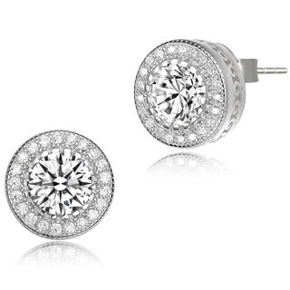 Collette Z Sterling Silver Cubic Zirconia Round Earrings - White (2 options available)